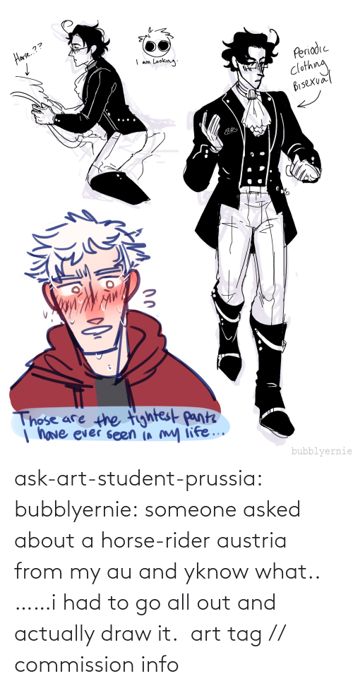 student: ask-art-student-prussia:  bubblyernie: someone asked about a horse-rider austria from my au and yknow what.. ……i had to go all out and actually draw it.  art tag // commission info