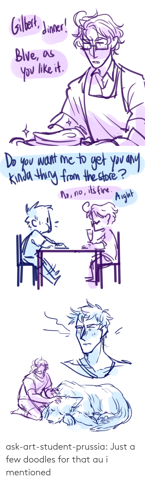 A Few: ask-art-student-prussia:  Just a few doodles for that au i mentioned