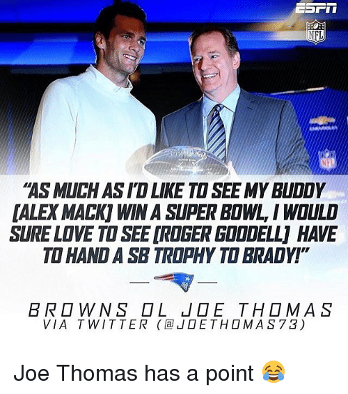 """wns: ASMUCHASID LIKE TO SEE MY BUDDY  DALE MACK WINASIPER BOWL, I WOULD  SURELDVE TO SEE DROGERGDODELLJ HAVE  TO HAND A SB TROPHY TO BRADY!""""  BR D WNS D L LIDE THOMAS  VIA T WITTER la JOE TH D MAS 73) Joe Thomas has a point 😂"""