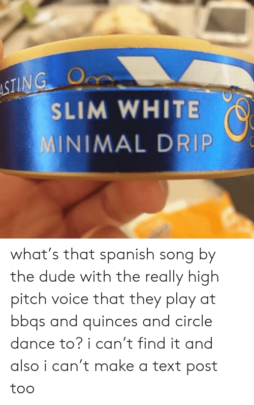 Dude, Spanish, and Text: ASTING O  SLIM WHITE  MINIMAL DRIP what's that spanish song by the dude with the really high pitch voice that they play at bbqs and quinces and circle dance to? i can't find it and also i can't make a text post too