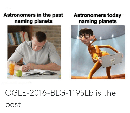 Best, Planets, and Today: Astronomers in the past  naming planets  Astronomers today  naming planets OGLE-2016-BLG-1195Lb is the best