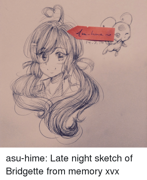 Target, Tumblr, and Blog: asu-hime:  Late night sketch of Bridgette from memory xvx