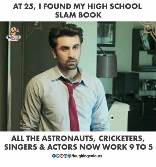 School, Work, and Book: AT 25, I FOUND MY HIGH SCHOOL  SLAM BOOK  AUGHING  ALL THE ASTRONAUTS, CRICKETERS  SINGERS & ACTORS NOW WORK 9 TO5  0003 /laughingcolours