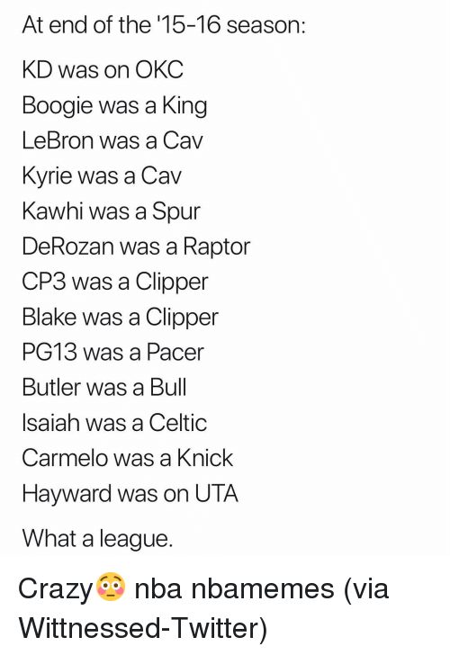 cp3: At end of the '15-16 season:  KD was on OKC  Boogie was a King  LeBron was a Cav  Kvrie was a Cav  Kawhi was a Spur  DeRozan was a Raptor  CP3 was a Clipper  Blake was a Clipper  PG13 was a Pacer  Butler was a Bul  Isaiah was a Celtic  Carmelo was a Knick  Hayward was on UTA  What a league Crazy😳 nba nbamemes (via Wittnessed-Twitter)