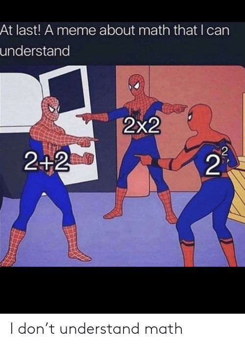 meme about: At last! A meme about math that I can  understand  2x2  2  2+2  21 I don't understand math