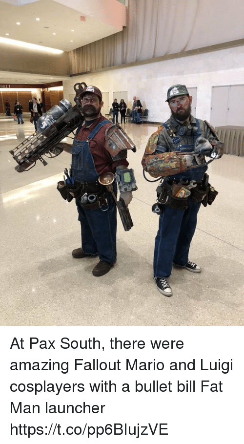 cosplayers: At Pax South, there were amazing Fallout Mario and Luigi cosplayers with a bullet bill Fat Man launcher https://t.co/pp6BIujzVE