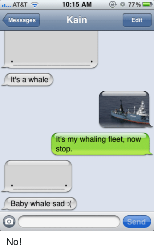 At&t, Sad, and Baby: AT&T  10:15AM  @O77 %  Messages  Kain  Edit  It's a whale  It's my whaling fleet, now  stop  Baby whale sad :(  Send <p>No!</p>