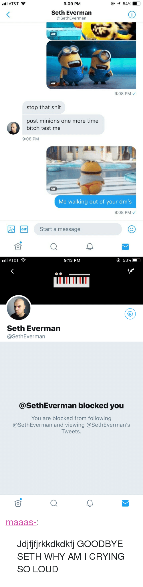 """Bitch, Crying, and Gif: AT&T  9:09 PM  Seth Everman  @SethEverman  GIF  GIF  9:08 PM  stop that shit  post minions one more time  bitch test me  9:08 PM  GIF  Me walking out of your dm's  9:08 PM  GF Start a message   AT&T  9:13 PM  е 53%  Seth Everman  @SethEverman  @SethEverman blocked you  You are blocked from following  @SethEverman and viewing @SethEverman's  Tweets <p><a href=""""https://maaas-.tumblr.com/post/172660552909/jdjfjfjrkkdkdkfj-goodbye-seth-why-am-i-crying-so"""" class=""""tumblr_blog"""">maaas-</a>:</p>  <blockquote><p>Jdjfjfjrkkdkdkfj GOODBYE SETH WHY AM I CRYING SO LOUD</p></blockquote>"""