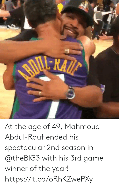 Game Winner: At the age of 49, Mahmoud Abdul-Rauf ended his spectacular 2nd season in @theBIG3 with his 3rd game winner of the year!    https://t.co/oRhKZwePXy
