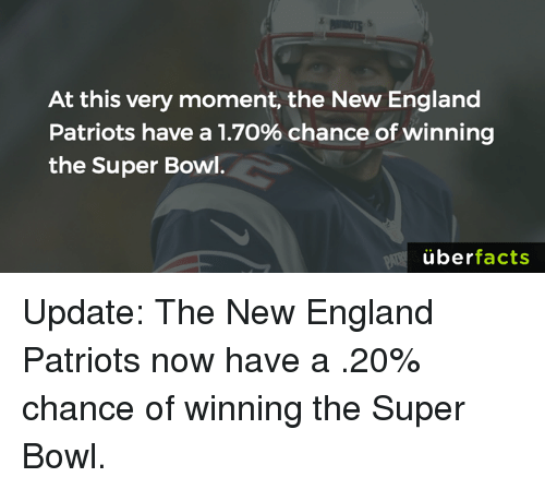 Memes, New England Patriots, and 🤖: At this very moment, the New England  Patriots have a 1.7o% chance of winning  the Super Bowl.  uber  facts Update: The New England Patriots now have a .20% chance of winning the Super Bowl.
