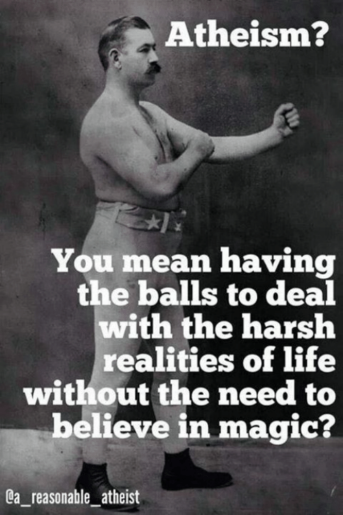 Life, Memes, and Magic: Atheism?  You mean having  the balls to deal  with the harsh  realities of life  without the need to  believe in magic?  a reasonable atheist