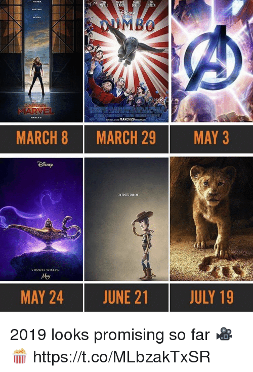 Choose Wisely: ATO DEVITO GREEN  MARCH  MARCH 8  MARCH 29  MAY 3  JUNE 2019  CHOOSE WISELY  MAY 24  JUNE 21  JULY 19 2019 looks promising so far 🎥🍿 https://t.co/MLbzakTxSR