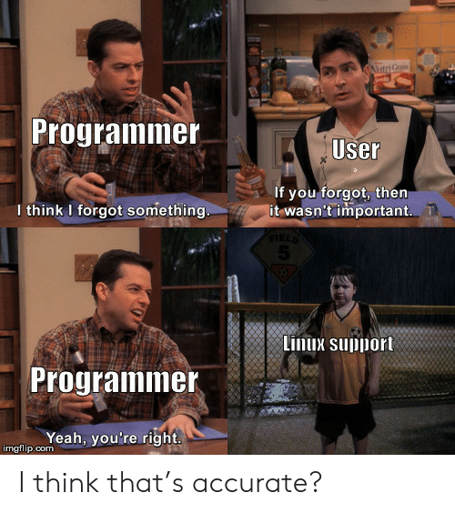 Linux: AtriGrain  Programmer  User  If you forgot, then  it wasn't important  I think I forgot something.  FIELD  5  Linux support  Programmer  Yeah, you're right  imgflip.com I think that's accurate?