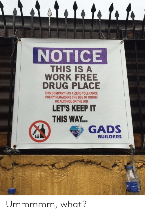 Drugs, Zero, and Work: attato to to  NOTICE  THIS IS A  WORK FREE  DRUG PLACE  THIS COMPANY HAS A ZERO TOLERANCE  POLICY REGARDING THE USE OF DRUGS  OR ALCOHOL ON THE JOB  LET'S KEEP IT  THIS WAY...  GADS  GADS  BUILDERS Ummmmm, what?