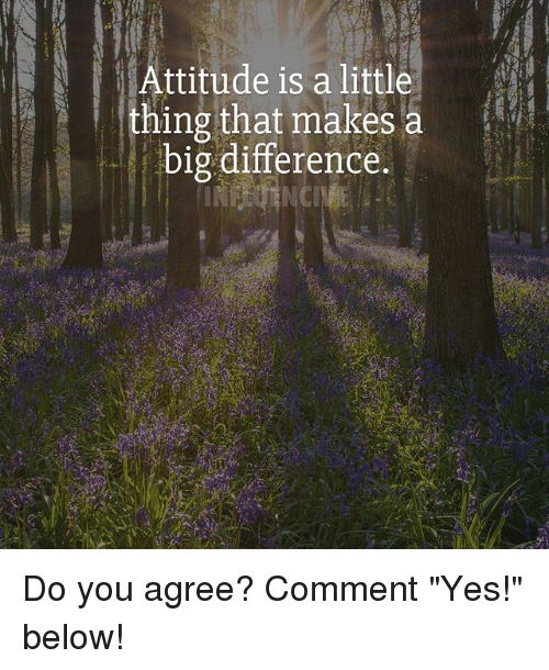 """Littled: Attitude is a littl  thing that makes a  big difference. Do you agree? Comment """"Yes!"""" below!"""