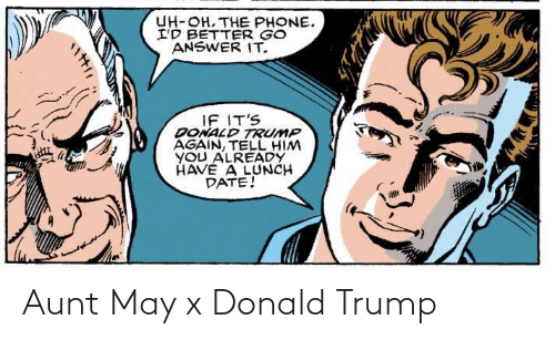 Donald Trump, Trump, and May: Aunt May x Donald Trump