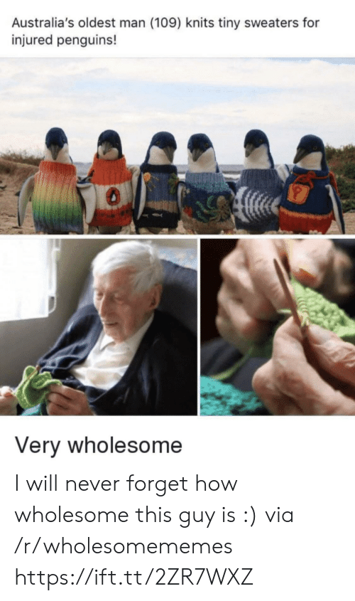 Penguins, Wholesome, and Never: Australia's oldest man (109) knits tiny sweaters for  injured penguins!  Very wholesome I will never forget how wholesome this guy is :) via /r/wholesomememes https://ift.tt/2ZR7WXZ