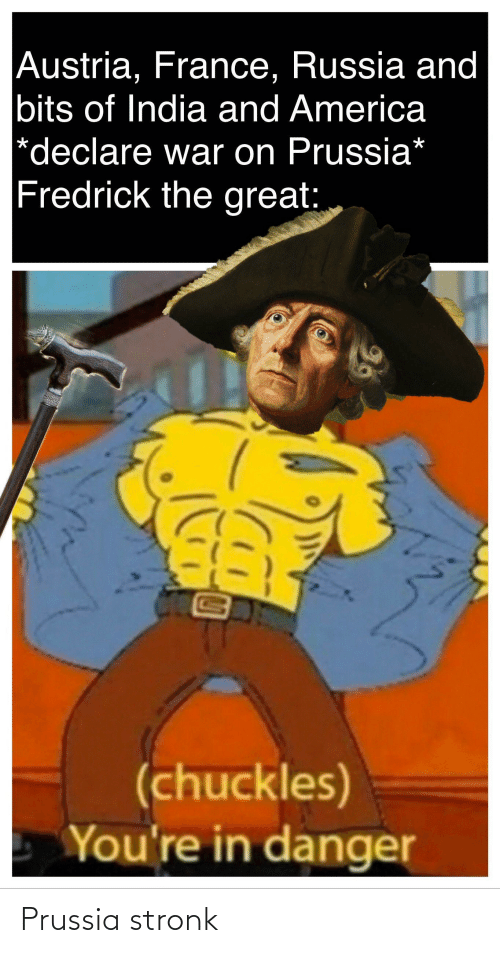 Prussia: Austria, France, Russia and  bits of India and America  *declare war on Prussia*  Fredrick the great:  (chuckles)  You're in danger Prussia stronk