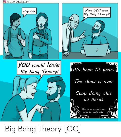 big bang: AUTOPHRENOLOGY  Have YoU seen  Hey Joe  Big Bang Theory?  11.2.06  |YOU would love  Big Bang Theory!  It's been 12 years  The show is over  Stop doing this  to nerds  The show wasn't even  good to begin with Big Bang Theory [OC]