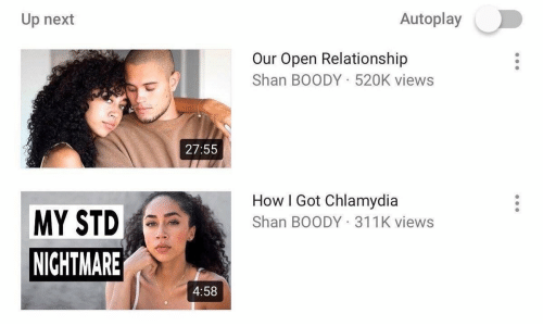 chlamydia: Autoplay  Up next  Our Open Relationship  Shan BOODY 520K views  27:55  How I Got Chlamydia  Shan BOODY 311K views  MY STD  NICHTMARE  4:58