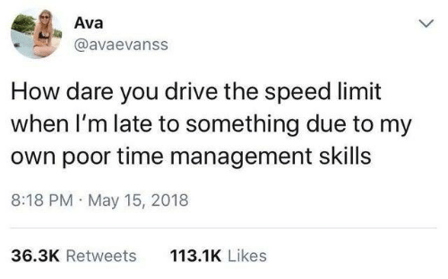 Dank, Drive, and Time: Ava  @avaevanss  How dare you drive the speed limit  when I'm late to something due to my  own poor time management skills  8:18 PM May 15, 2018  113.1K Likes  36.3K Retweets