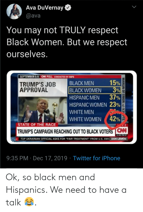 "U S: Ava DuVernay  @ava  You may not TRULY respect  Black Women. But we respect  ourselves.  SEPTEMBER 5-9 CAN POLL CONDUCTED BY SSIS  15%  3%  37%  BLACK MEN  TRUMP'S JOB  APPROVAL  BLACK WOMEN  HISPANIC MEN  HISPANIC WOMEN 23%  WHITE MEN  WHITE WOMEN ( 42%  STATE OF THE RACE  TRUMP'S CAMPAIGN REACHING OUT TO BLACK VOTERS CN  11:40 PM ET  TOP UKRAINIAN OFFICIAL ASKS FOR ""FAIR TREATMENT"" FROM U.S. AMIC DON LEMON  9:35 PM · Dec 17, 2019 · Twitter for iPhone  MARGIN OF ERROR: +/-9.3° TS. Ok, so black men and Hispanics. We need to have a talk 😂."