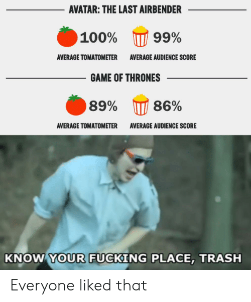 Fucking, Game of Thrones, and The Last Airbender: AVATAR: THE LAST AIRBENDER  100%  99%  AVERAGE TOMATOMETER  AVERAGE AUDIENCE SCORE  GAME OF THRONES  86%  89%  ΑVERAGE TOMΑΤΟΜΕΤER  AVERAGE AUDIENCE SCORE  KNOW YOUR FUCKING PLACE, TRASH Everyone liked that