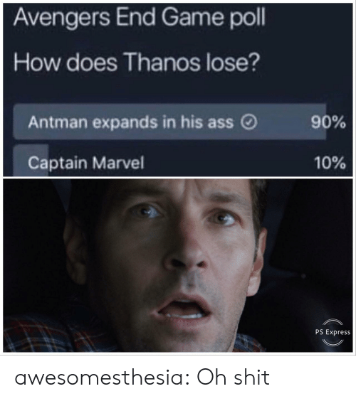 Ass, Shit, and Tumblr: Avengers End Game poll  How does Thanos lose?  Antman expands in his ass O  90%  10%  Captain Marvel  PS Express awesomesthesia:  Oh shit