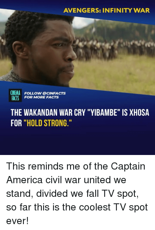 """United We Stand: AVENGERS: INFINITY WAR  CINEMA FOLLOW @cINFACTS  ACTS FOR MORE FACTS  THE WAKANDAN WAR CRY """"YIBAMBE"""" IS XHOSA  FOR """"HOLD STRONG This reminds me of the Captain America civil war united we stand, divided we fall TV spot, so far this is the coolest TV spot ever!"""