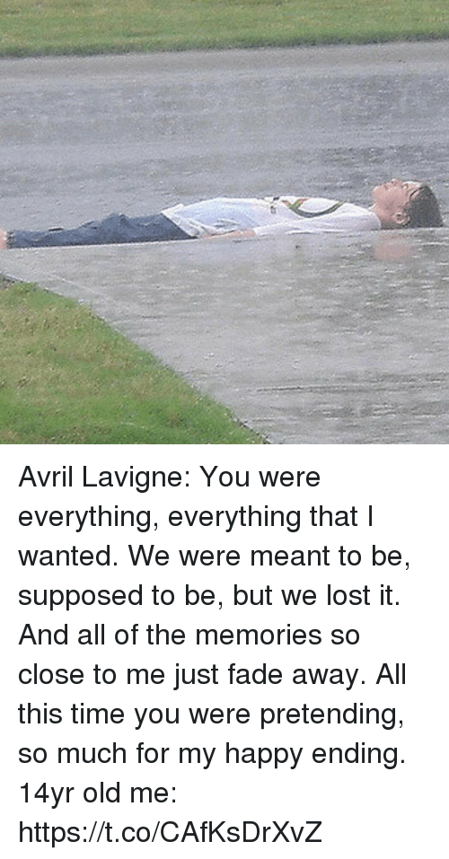 Lost, Happy, and Time: Avril Lavigne: You were everything, everything that I wanted. We were meant to be, supposed to be, but we lost it. And all of the memories so close to me just fade away. All this time you were pretending, so much for my happy ending.  14yr old me: https://t.co/CAfKsDrXvZ