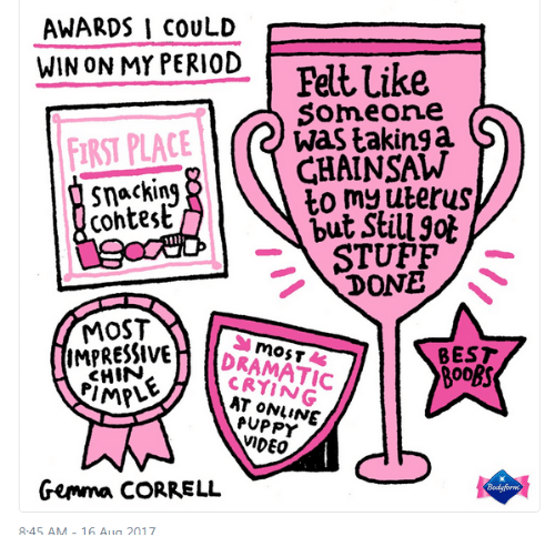 On My Period: AWARDS I COULD  .  WIN ON MY PERIOD  FIRST PLACE  cohtest  Felt Like  Someone  was takinga  GHAINSAW  STUPFP  DONE  MOST  RESSIVE  CHIN  MPLE  IMPR  BEST  CRYING  AT ONVINE  PUPPY  VIDEO  Gemma CORRELL  8.45 AM-16 Aua 2017