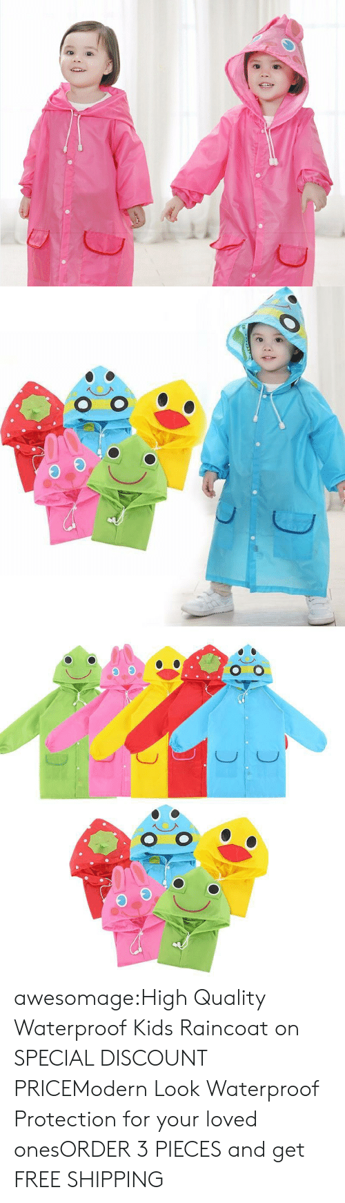 poncho: awesomage:High Quality Waterproof Kids Raincoat on SPECIAL DISCOUNT PRICEModern Look  Waterproof Protection for your loved onesORDER 3 PIECES and get FREE SHIPPING