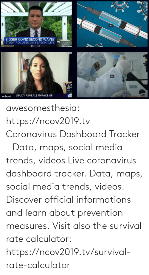 Social Media, Tumblr, and Videos: awesomesthesia: https://ncov2019.tv Coronavirus Dashboard Tracker - Data, maps, social media trends, videos Live coronavirus dashboard tracker. Data, maps, social media trends, videos. Discover official informations and learn about prevention measures. Visit also the survival rate calculator: https://ncov2019.tv/survival-rate-calculator