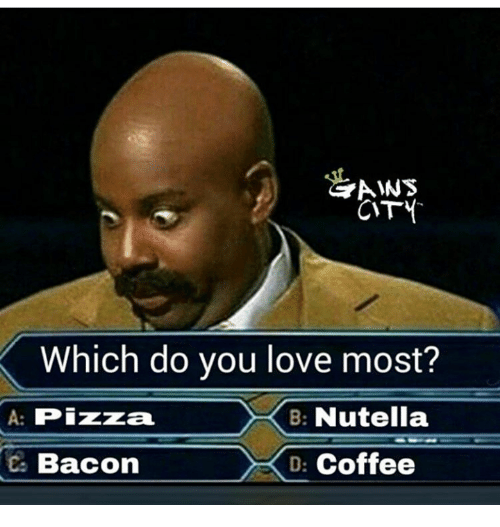 aws: AWS  CTY  Which do you love most?  A: Pizza  B: Nutella  BaconDCoffee