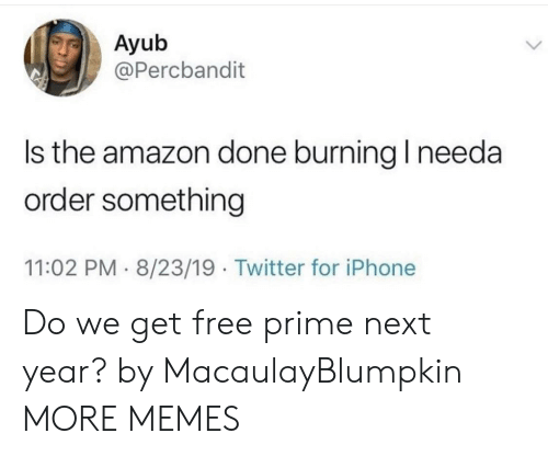 Amazon, Dank, and Iphone: Ayub  @Percbandit  Is the amazon done burning I needa  order something  8/23/19. Twitter for iPhone  11:02 PM Do we get free prime next year? by MacaulayBlumpkin MORE MEMES