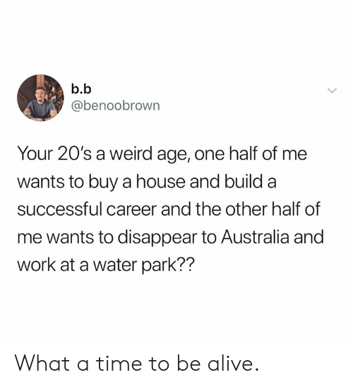 Alive, Dank, and Weird: b.b  @benoobrown  Your 20's a weird age, one half of me  wants to buy a house and build a  successful career and the other half of  me wants to disappear to Australia and  work at a water park?? What a time to be alive.
