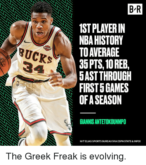 Espn, Nba, and Sports: B R  1ST PLAYERIN  NBA HISTORY  TO AVERAGE  35PTS, 10 REEB,  5AST THROUGH  FIRST 5 GAMES  OF A SEASON  BUCKS  GIANNIS ANTETOKOUNMPO  H/T ELIAS SPORTS BUREAU (VIA ESPN STATS & INFO) The Greek Freak is evolving.