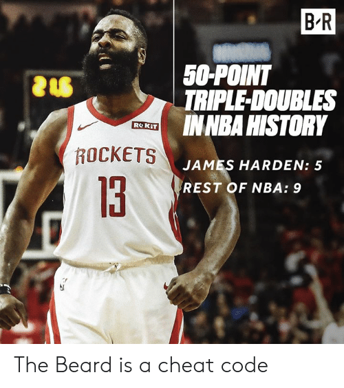 James Harden: B R  50-POINT  TRIPLE-DOUBLES  INNBA HISTORY  ROCKETS  JAMES HARDEN: 5  REST OF NBA: 9  13 The Beard is a cheat code