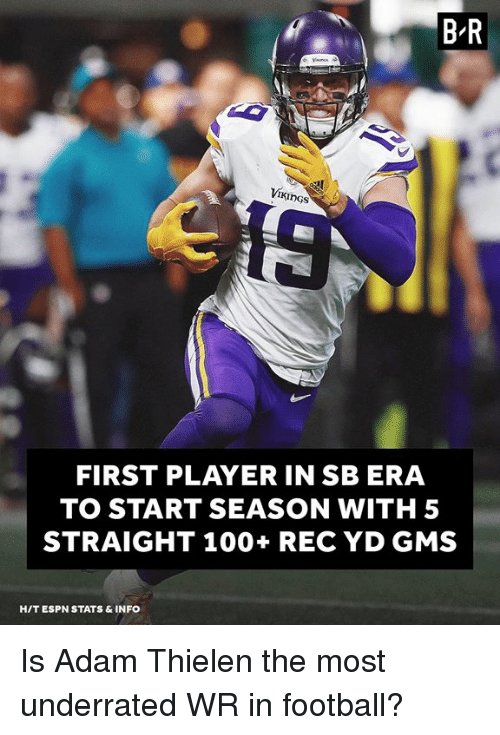 gms: B-R  VII  I KİnGs  FIRST PLAYER IN SB ERA  TO START SEASON WITH 5  STRAIGHT 100+ REC YD GMS  HIT ESPN STATS & INFO Is Adam Thielen the most underrated WR in football?