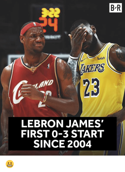 LeBron James, Lebron, and James: B R  wish  AKERS  23  LEBRON JAMES  FIRST 0-3 START  SINCE 2004 😬