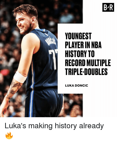 Nba, History, and Record: B R  YOUNGEST  PLAYER IN NBA  HISTORY TO  RECORD MULTIPLE  TRIPLE-DOUBLES  LUKA DONCIC Luka's making history already 🔥