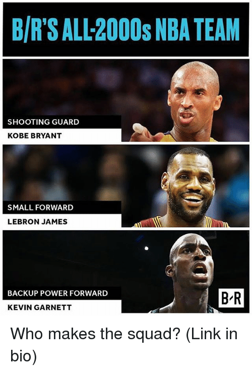 Kobe Bryant, LeBron James, and Nba: B/R'S ALL-2000s NBA TEAM  SHOOTING GUARD  KOBE BRYANT  SMALL FORWARD  LEBRON JAMES  BACKUP POWER FORWARD  B-R  KEVIN GARNETT Who makes the squad? (Link in bio)