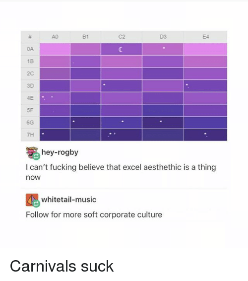 oas: B1  A0  OA  2C  4E  6G  hey-rogby  I can't fucking believe that excel aesthethic is a thing  noW  whitetail-music  Follow for more soft corporate culture Carnivals suck