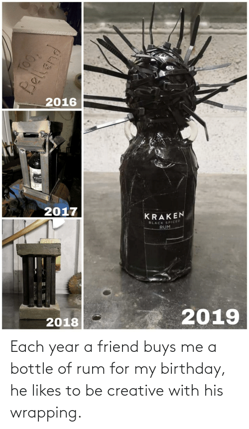 my birthday: BA17  2016  KRAK  2017  KRAKEN  BLACK SPICED  RUM  2019  2018  TOO,  Bellend Each year a friend buys me a bottle of rum for my birthday, he likes to be creative with his wrapping.