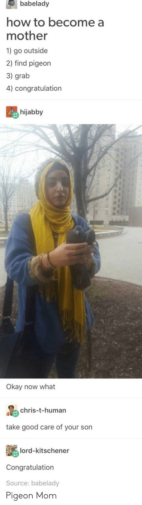 congratulation: babelady  how to become a  mother  1 go outside  2) find pigeon  3) grab  4) congratulation  hijabby  Okay now what  chris-t-human  take good care of your son  lord-kitschener  Congratulation  Source: babelady Pigeon Mom
