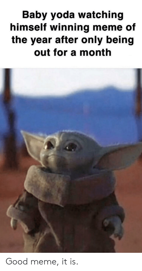 winning meme: Baby yoda watching  himself winning meme of  the year after only being  out for a month Good meme, it is.
