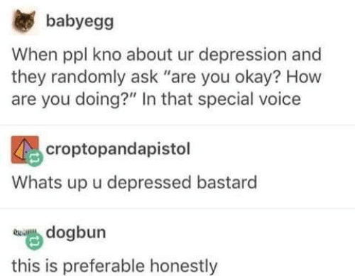"""Funny, Tumblr, and Depression: babyegg  When ppl kno about ur depression and  they randomly ask """"are you okay? How  are you doing?"""" In that special voice  croptopandapistol  Whats up u depressed bastard  dogbun  this is preferable honestly"""
