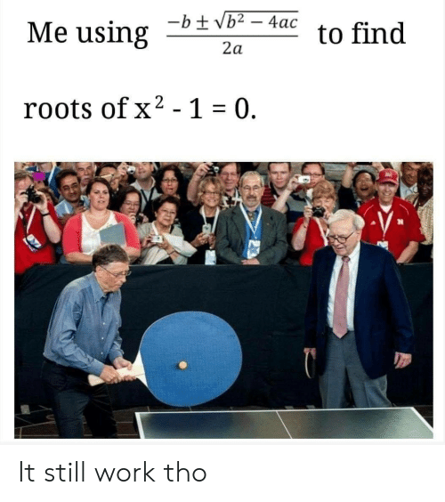 roots: bac to find  Me using  2a  roots ofx2 -1 0. It still work tho
