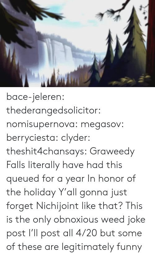 Funny, Rns, and Tumblr: bace-jeleren:  thederangedsolicitor:  nomisupernova:  megasov:  berryciesta:  clyder:  theshit4chansays:  Graweedy Falls  literally have had this queued for a year     In honor of the holiday  Y'all gonna just forget Nichijoint like that?    This is the only obnoxious weed joke post I'll post all 4/20 but some of these are legitimately funny