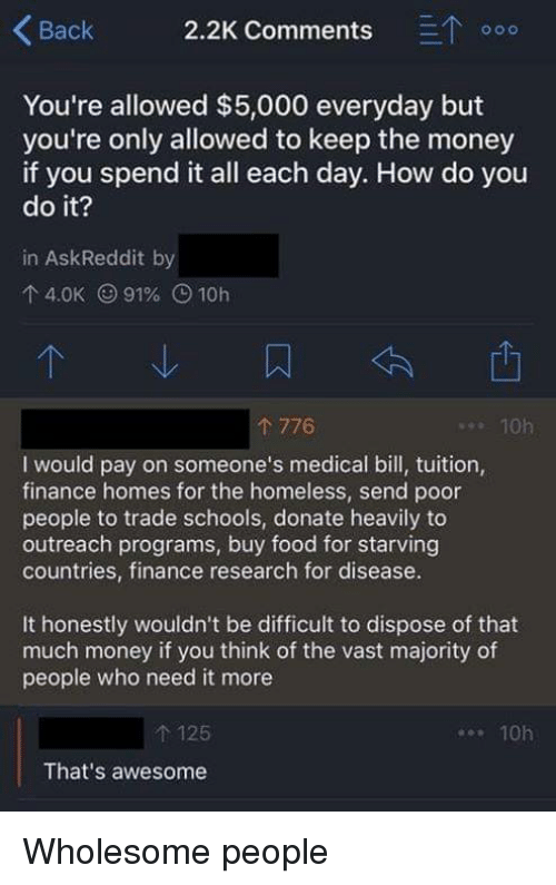 eto: Back 2.2K Comments ETo  You're allowed $5,000 everyday but  you're only allowed to keep the money  if you spend it all each day. How do you  do it?  in AskReddit by  4.0K (991% O 10h  776  . 10h  I would pay on someone's medical bill, tuition,  finance homes for the homeless, send poor  people to trade schools, donate heavily to  outreach programs, buy food for starving  countries, finance research for disease.  It honestly wouldn't be difficult to dispose of that  much money if you think of the vast majority of  people who need it more  t 125  That's awesome  10h Wholesome people